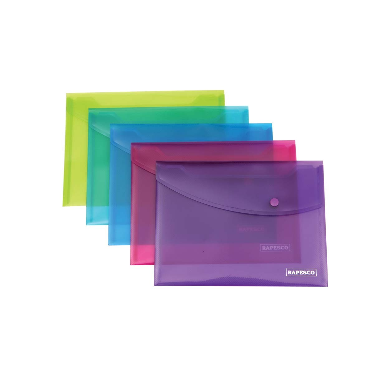 Rapesco Bright Popper Wallet with Button - A5 - Assorted