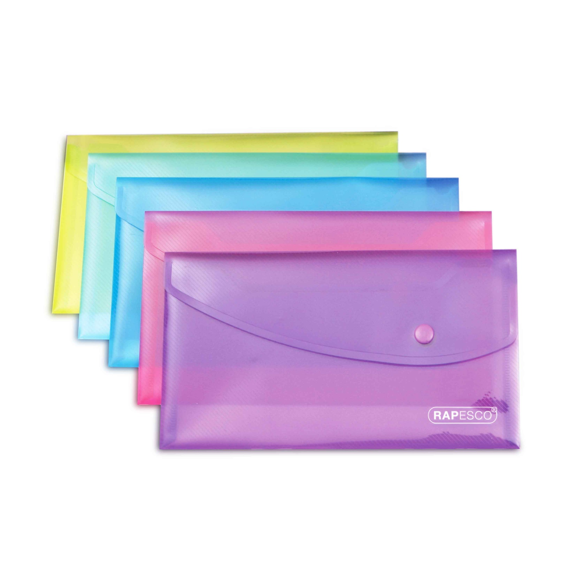 Rapesco Bright Popper Wallet with Button - DL Size (225x125mm) - Assorted