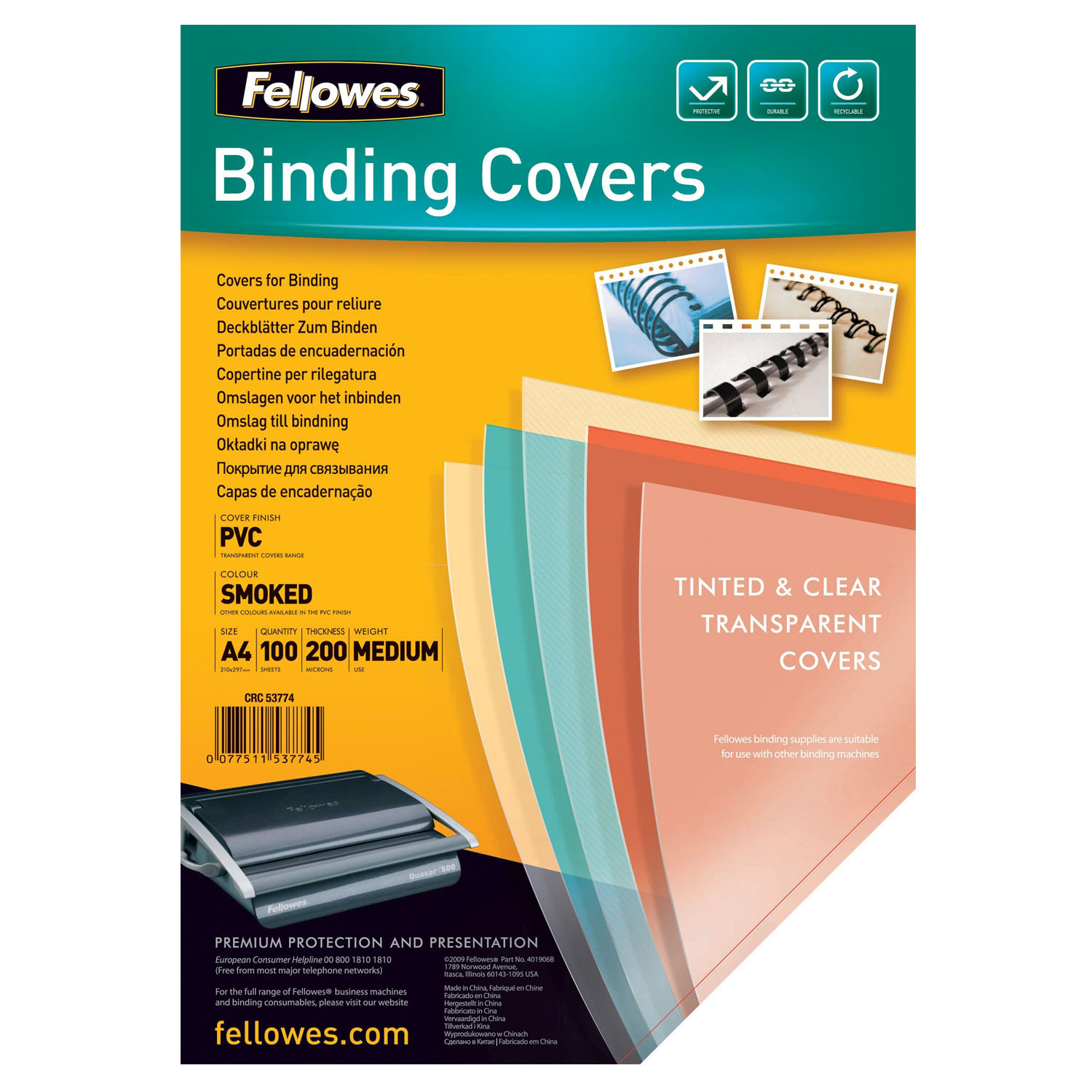 Front Binding Covers PVC A4 SMOKED x 100 sheets