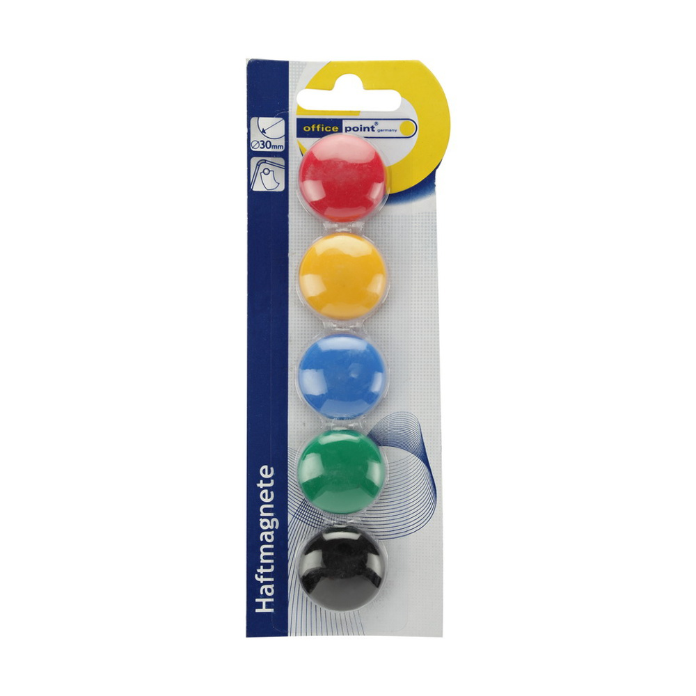 Round Magnets Assorted Colours 30mm x 5pcs