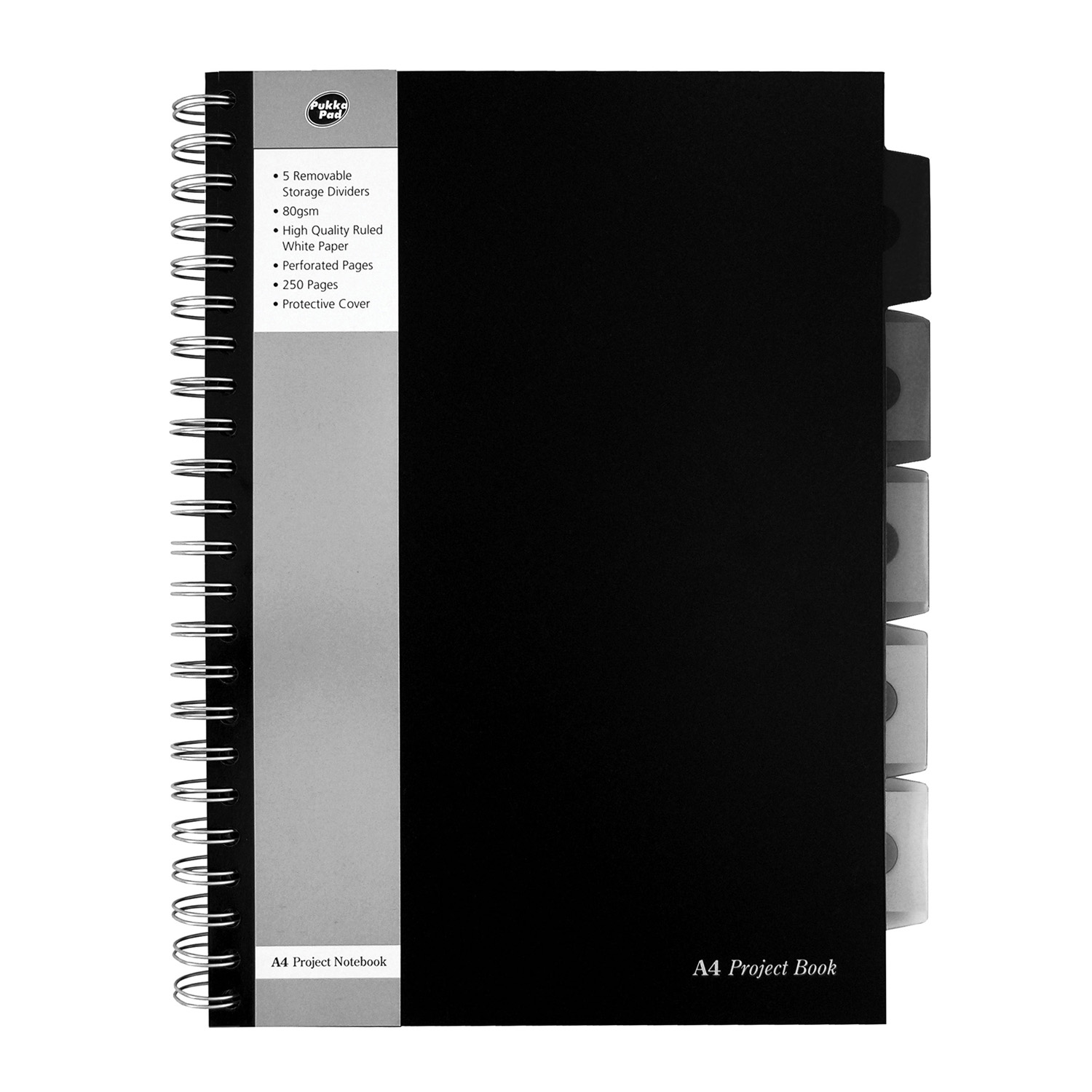 A4 Side Spiral Notebook Pukka Black Range with 3 movable tabs x 250 pages
